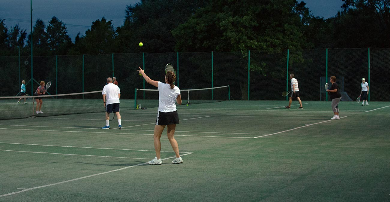 Wistow tennis club facilities under floodlights